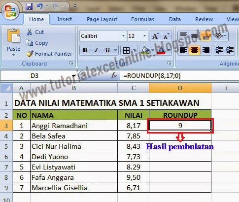 Hasil pembulatan ke atas Excel