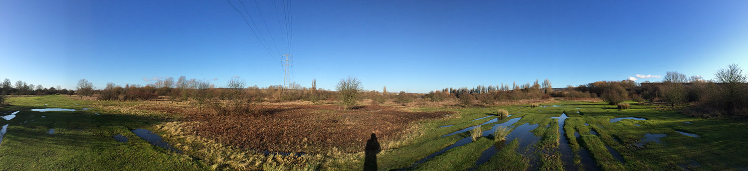 Panoramic view of a flood plain.  Leybourne Lakes, 2 January 2014.