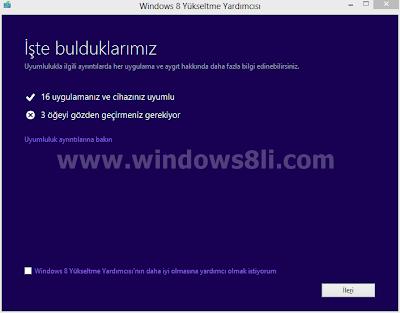 Windows 8 yükseltme yardımcısı