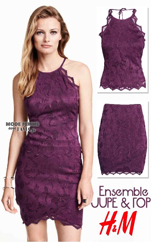 Ensemble jupe et haut en dentelle stretch violet H&M