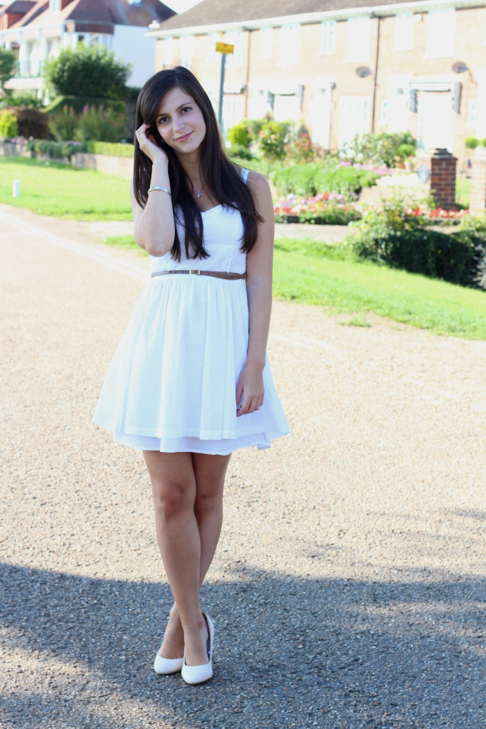 White h&m dress how to style summer