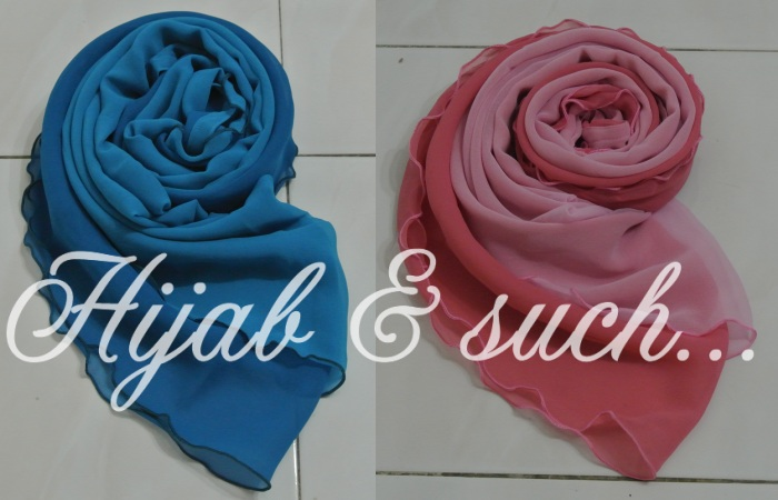hijab and such, double layer, half-moon double layer murah, half-moon double layer, shawl, chiffon double layer