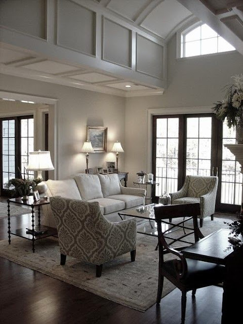 gray living room with black trim windows