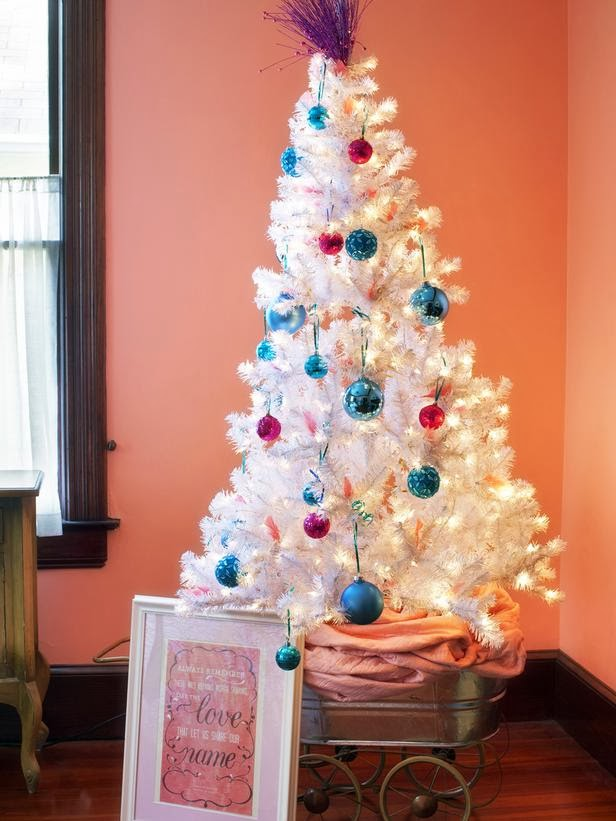 small white tree with pink and turquoise ornaments would be a ...
