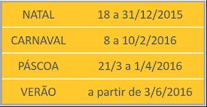 CALENDÁRIO FÉRIAS 2015/2016