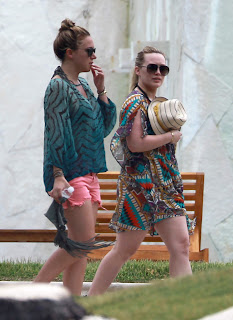 Hilary & Haylie Duff out for a walk near their hotel in Mexico