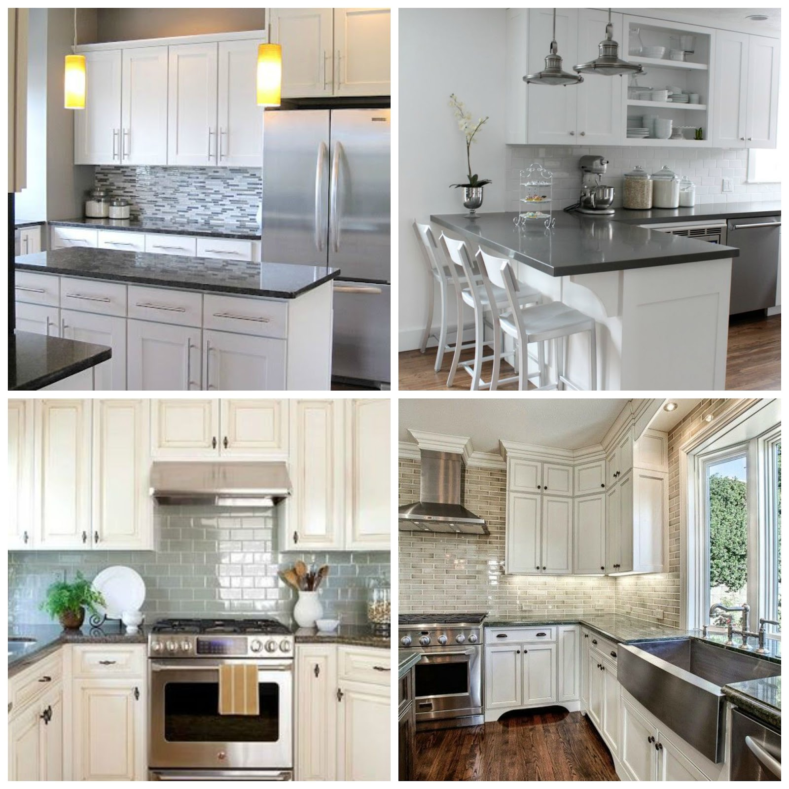 Dark And Light Kitchen Cabinets Together: Light Granite Countertops White Cabinets Others Beautiful
