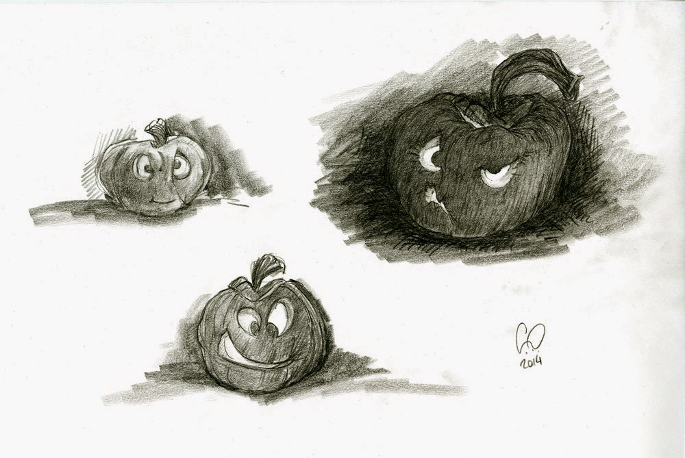 Halloween - Pumpkin Head Characters - illustration drawing in pencil by Cesare Asaro - Creative Director at Curio & Co. (Curio and Co. - www.curioanco.com)