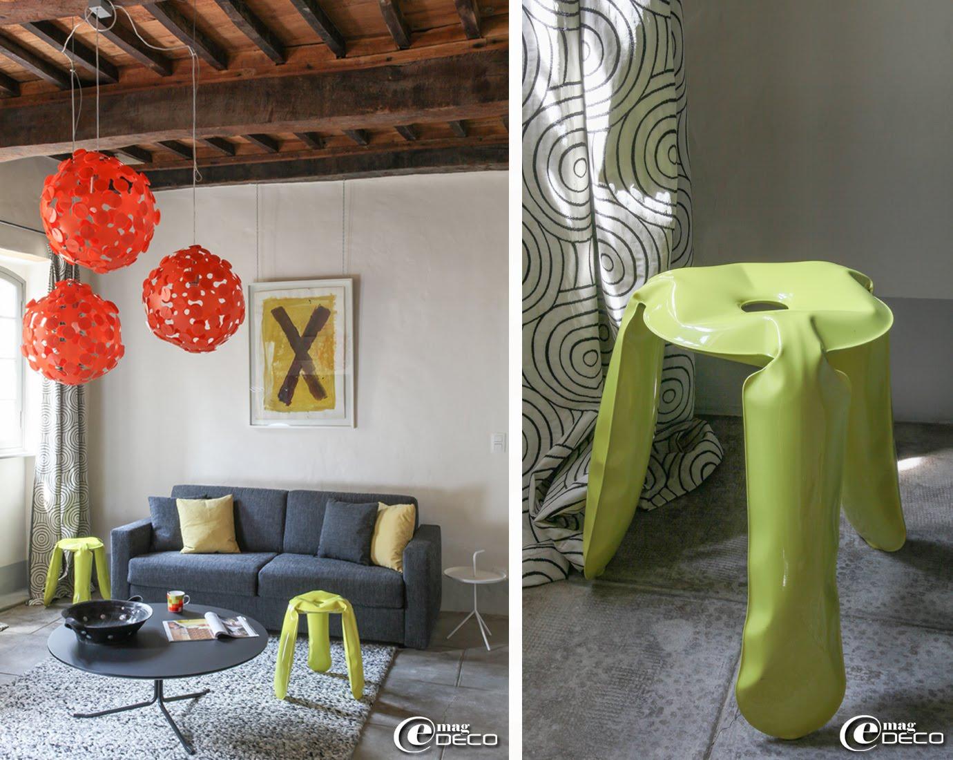 Tabouret en acier laqué gonflé Plopp imaginé par le designer polonais Oskar Zieta pour HAY