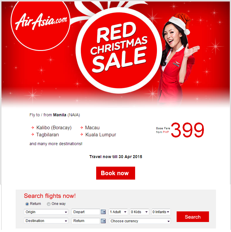 AirAsia: Red Christmas Sale from PHP399!