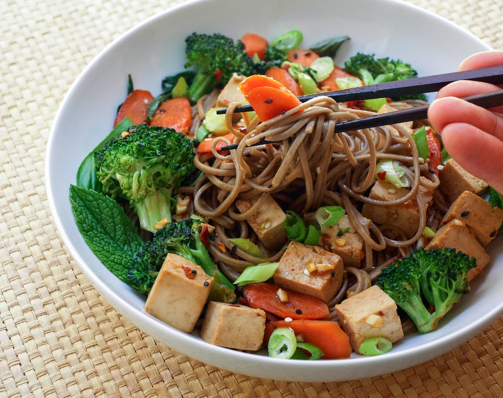 ... add in the noodles soba noodles w broccoli tofu broccoli soba noodle