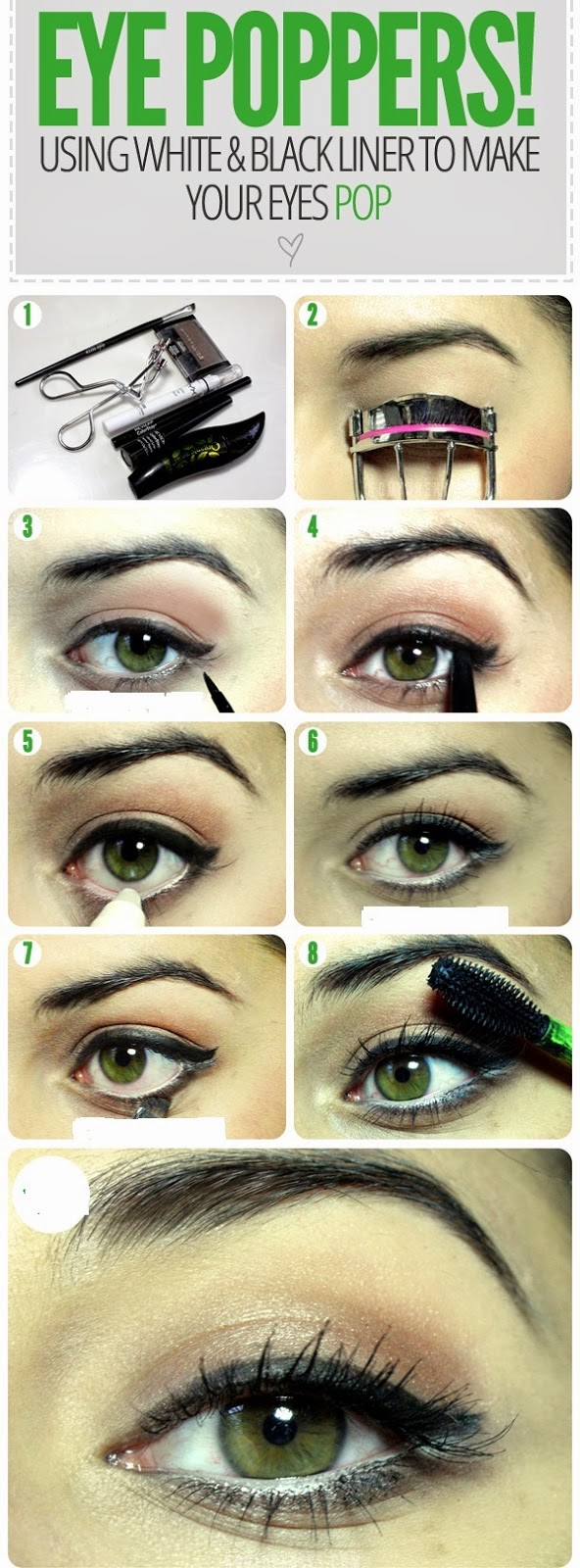 EYE POPPERS ! USING WHITE AND BLACK LINER TO MAKE YOUR EYES POP.