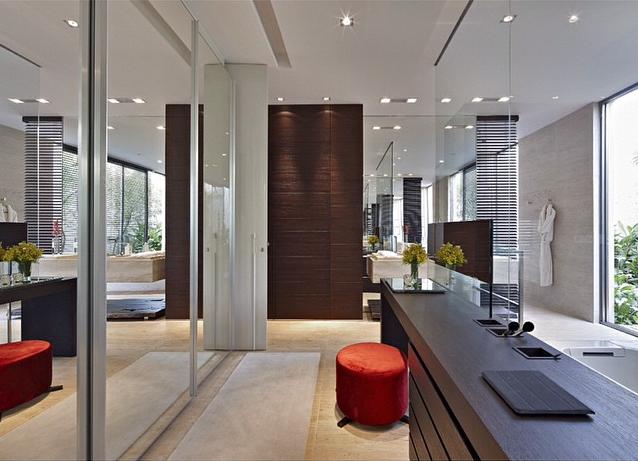 Quarto, banheiro e closet integrados  veja detalhes dessa suíte moderna e ma -> Closet Com Banheiro Integrado Pequeno