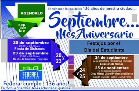 """Feliz """"ANIVERSARIO"""" Federal. Fundación  136 y 44° del departamento"""