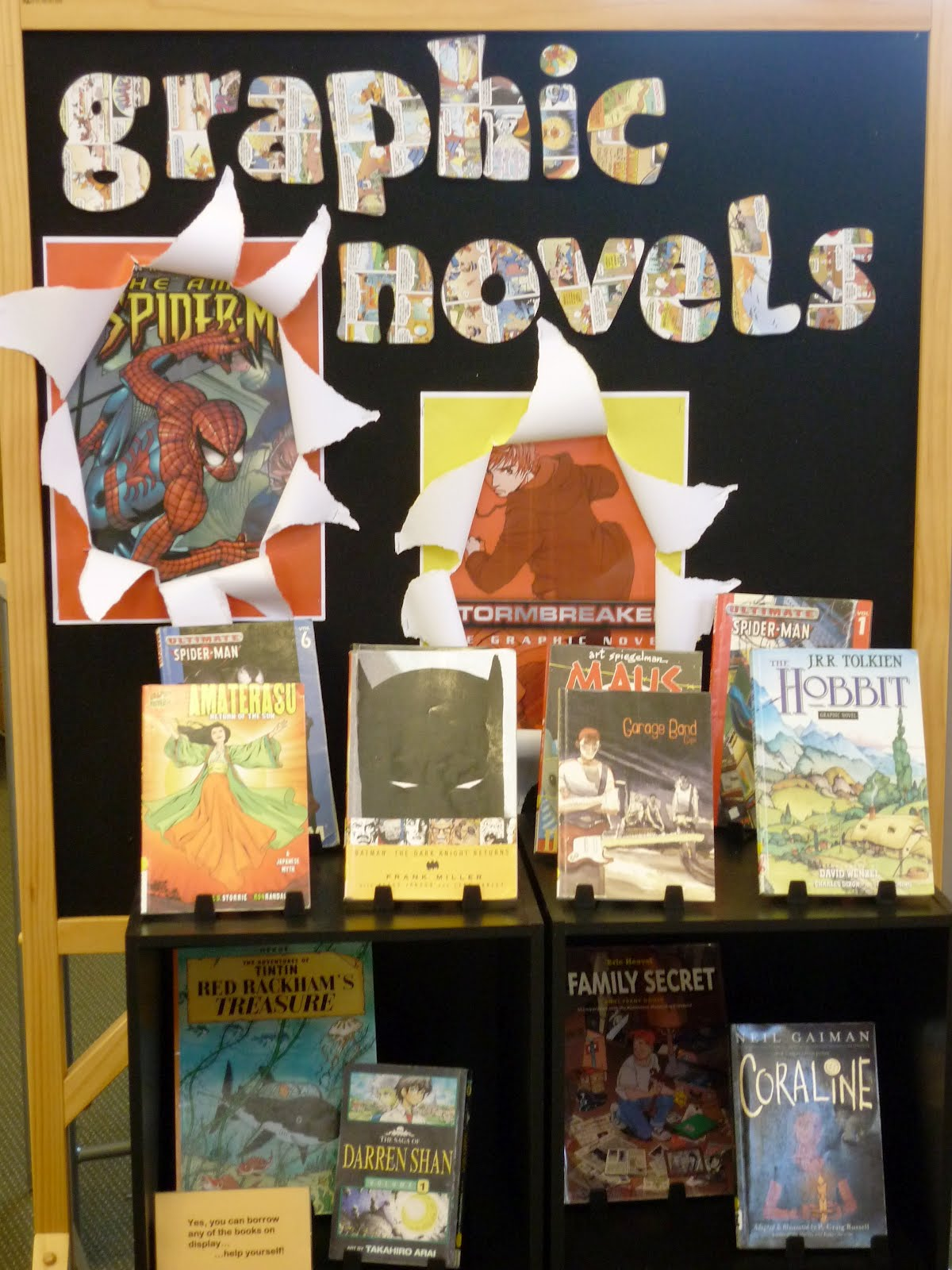 Library displays graphic novels for Cork board displays