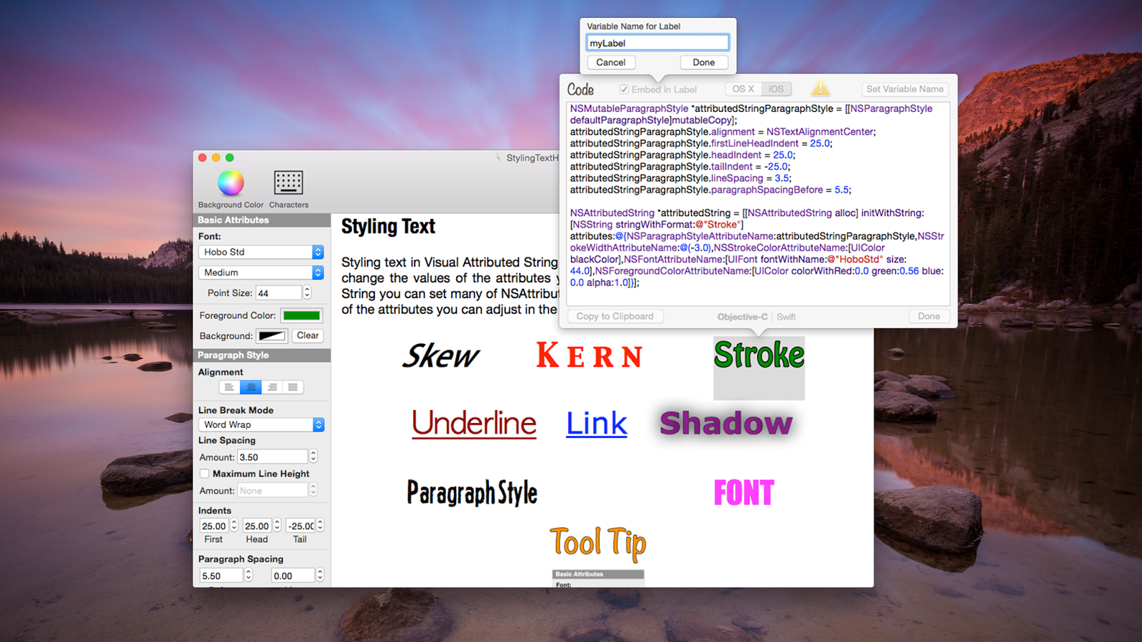 Visual Attributed String Mac App Screenshot of Label Maker.