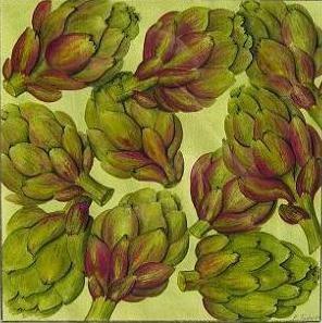 artichokes painting by Elizabeth H tudor
