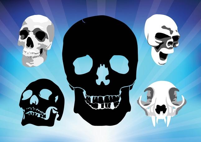 Free Grunge Spooky Skulls Vectors