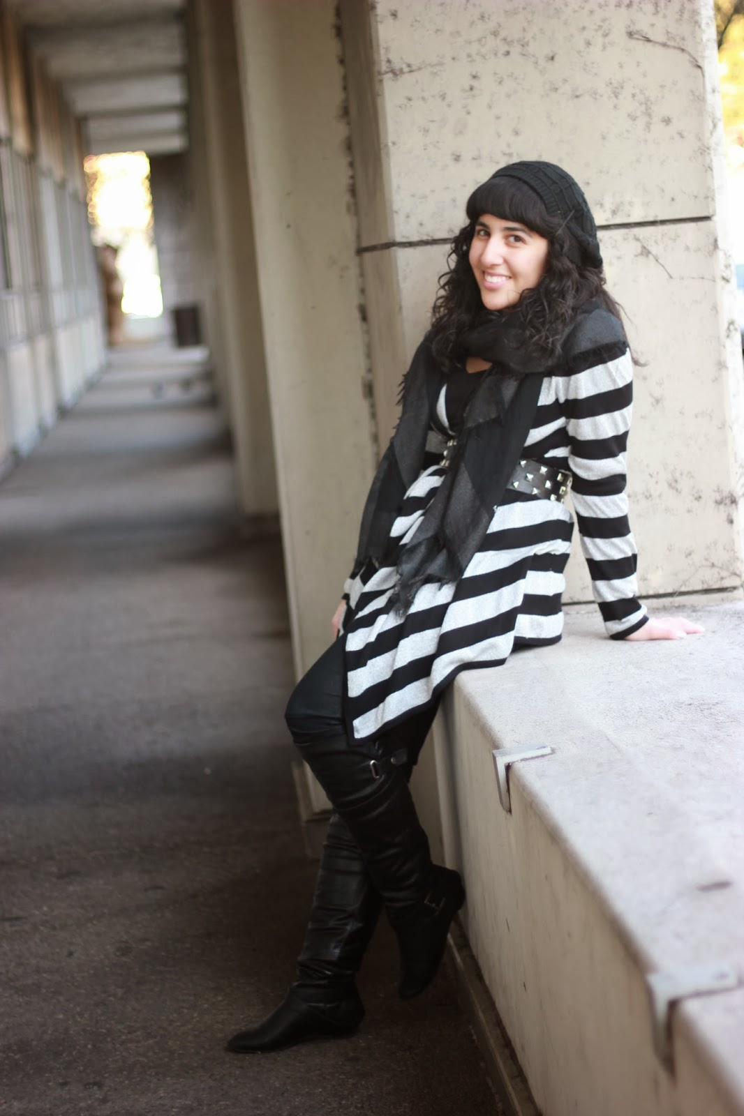 Striped Metallic Asymmetrical Cardigan