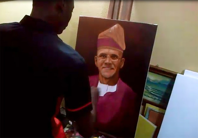 portrait painting in progress by artist ayeola ayodeji How I paint gregoire dressed in yoruba native
