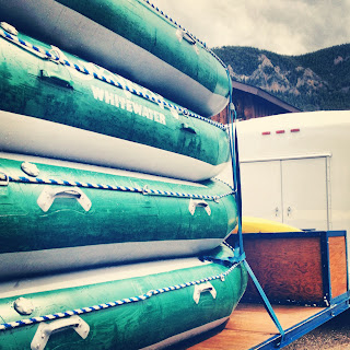 rafts loaded and set to take on the Gallatin River