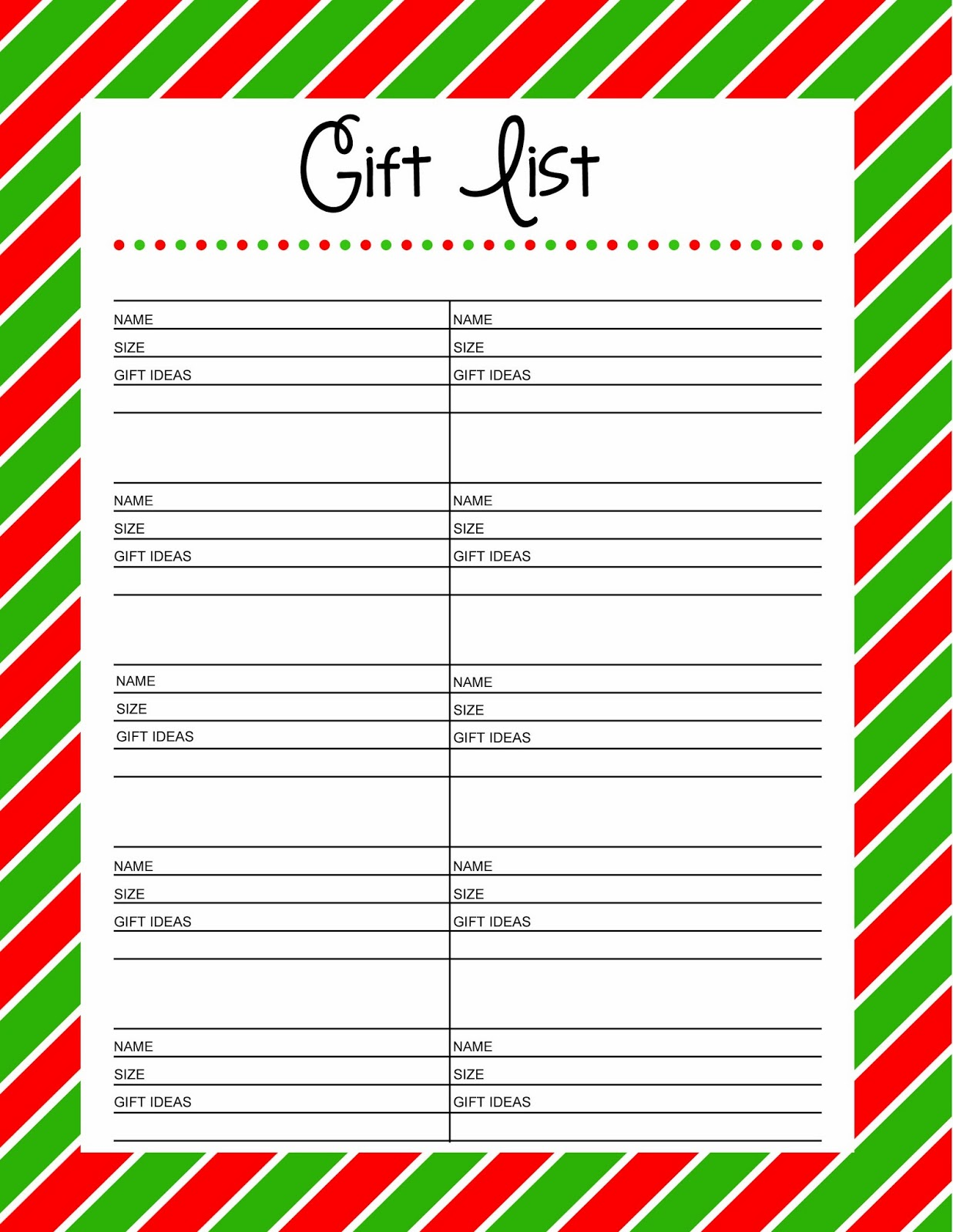 Free Printable Christmas Gift List  Free Printable Christmas Lists