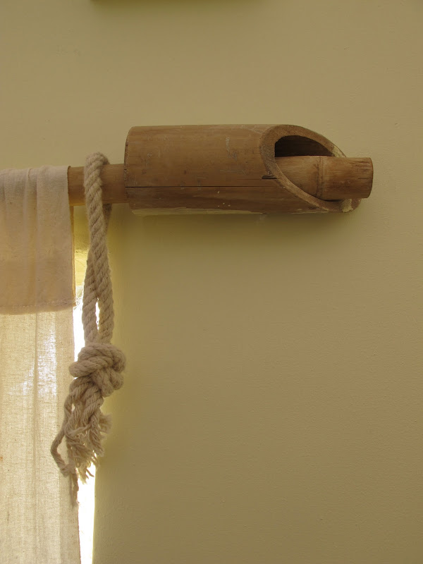 Curtain rods made from bamboo. When