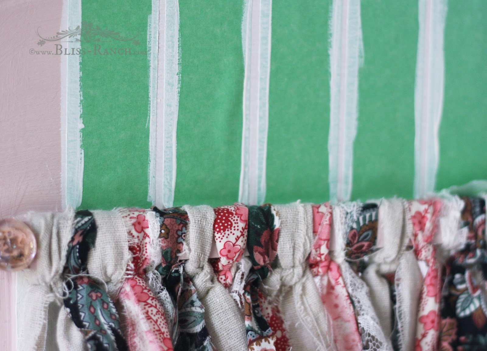 Upcycled Nightstand to Play Kitchen Scrap Fabric Valance Bliss-Ranch.com #tiedvalance #playkitchen #nosew