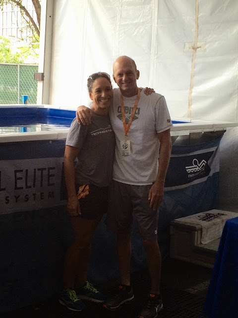 Kim Brackin and Rowdy Gaines visit the High-Performance Endless Pool at the 2015 Arena Pro Grand Swim Series.