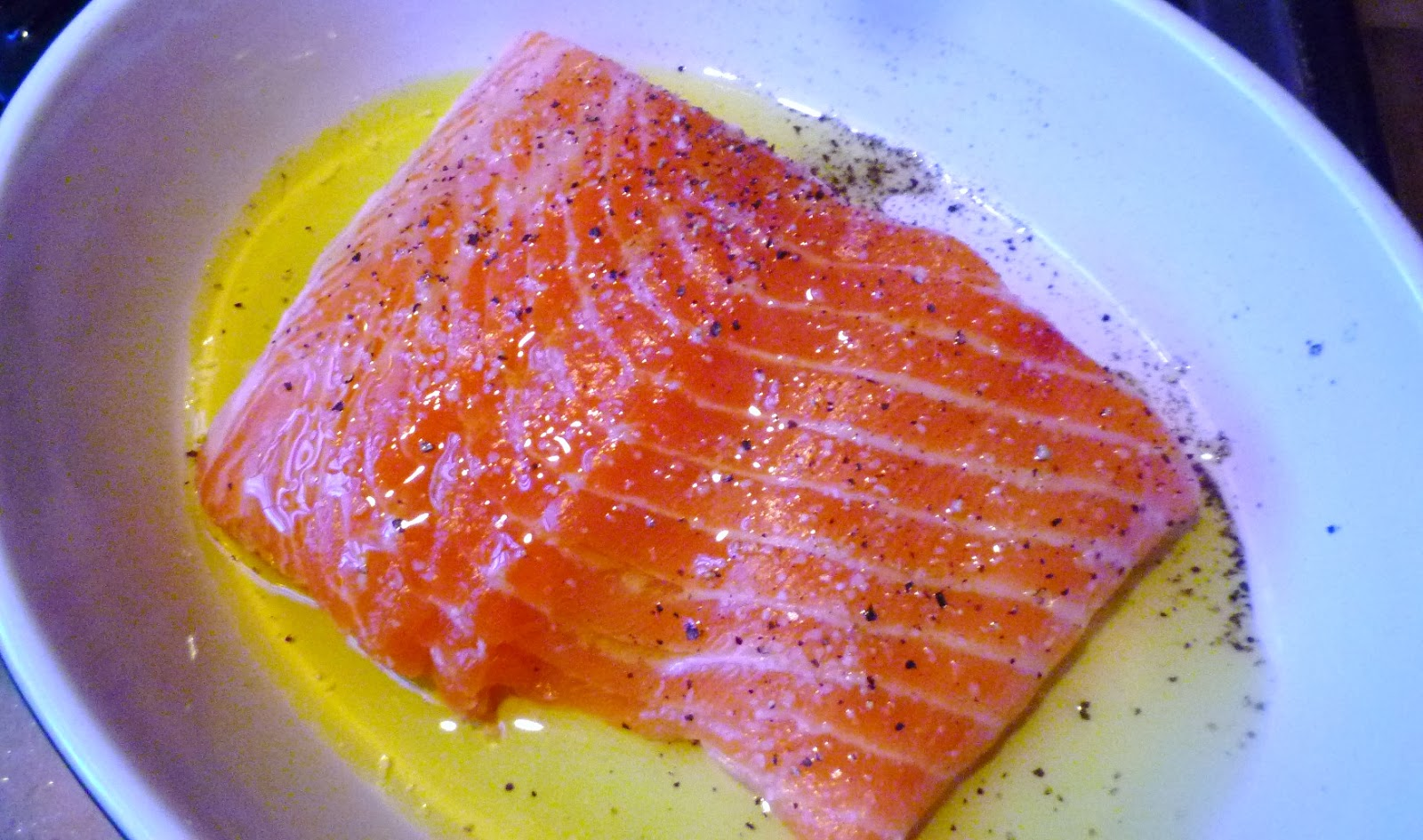 Baked Salmon Fish Drizzled In Olive Oil