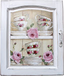 Cups, Saucers &amp; Roses on a Cupboard Door