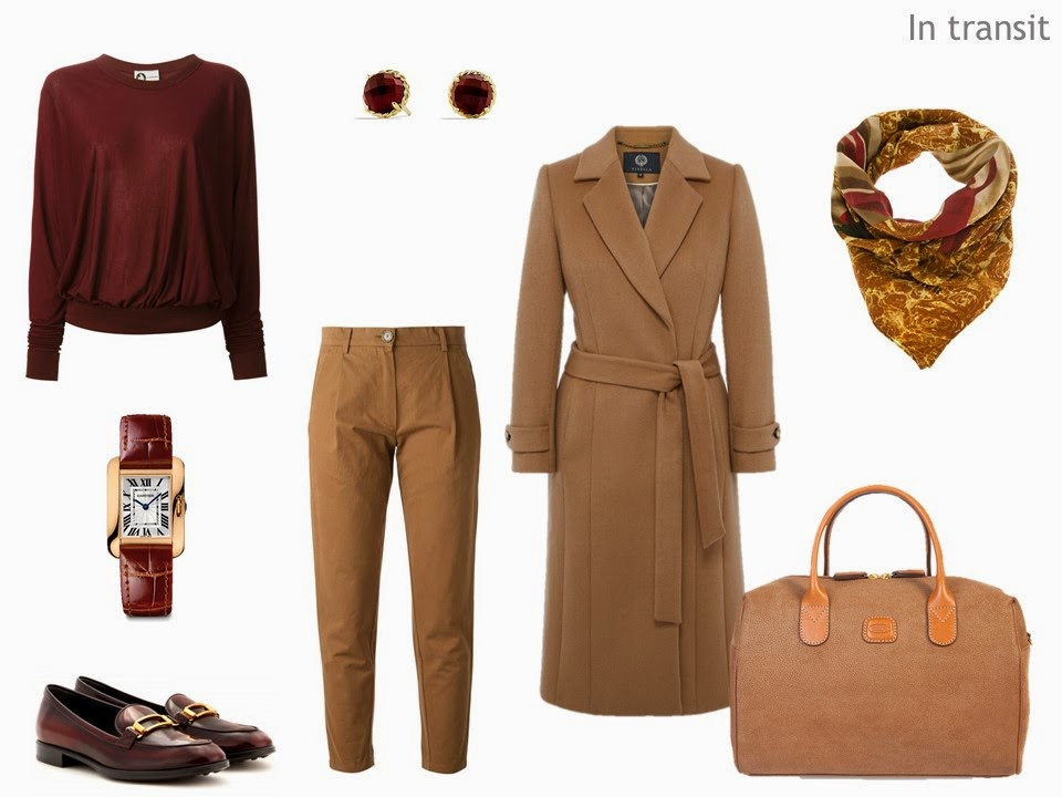 Camel and Burgundy Travel Outfit