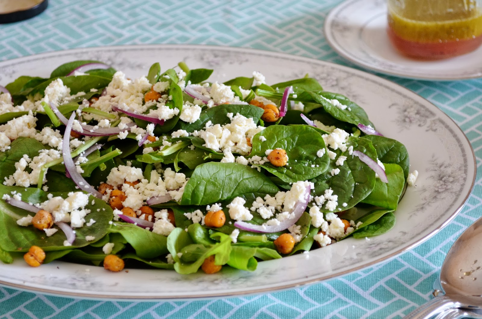Roasted Chickpea Salad with Arugula, Feta, and Lemon-Mint Vinaigrette