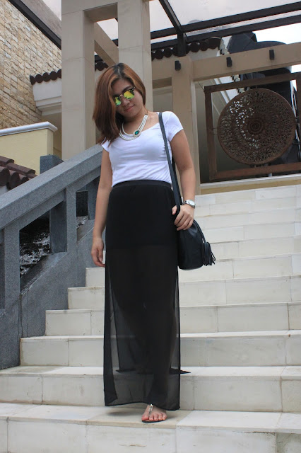 HM White Shirt and Sheer Maxi Skirt