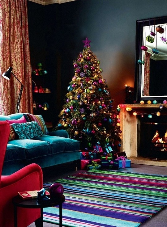 vibrant jewel tone christmas decor