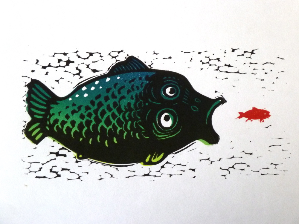 Hungry Fish Linocut With Colour Blend