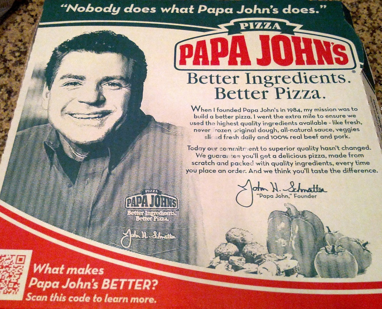 Tired Of Papa John's Ugly Face On My Pizza Boxes Papa Johns Pizza Box Opened