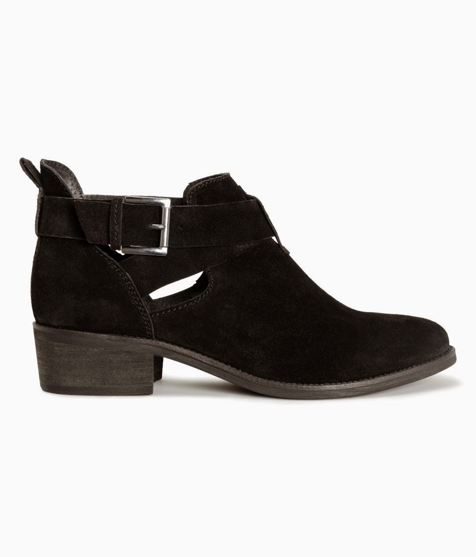 hm black suede ankle boot