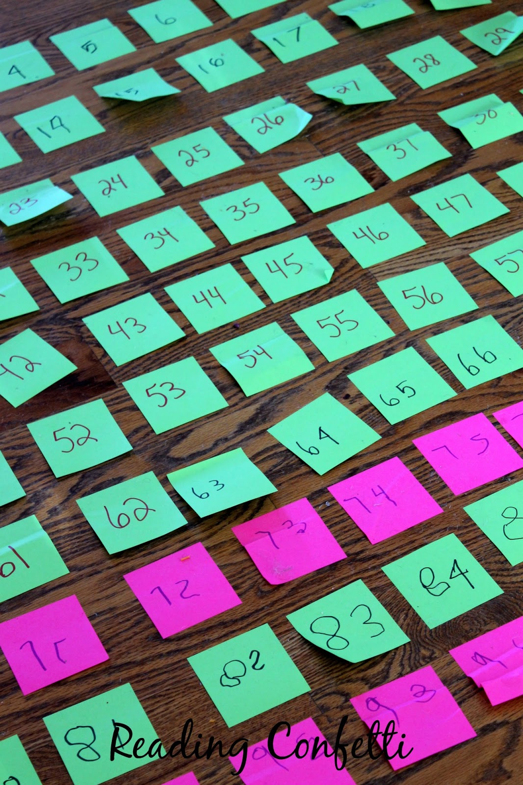 Make an easy and interactive hundreds chart from post-it sticky notes.