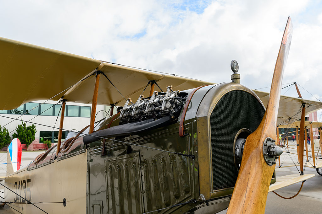 Engine view of a Curtiss JN-40 Jenny 1918 Biplane