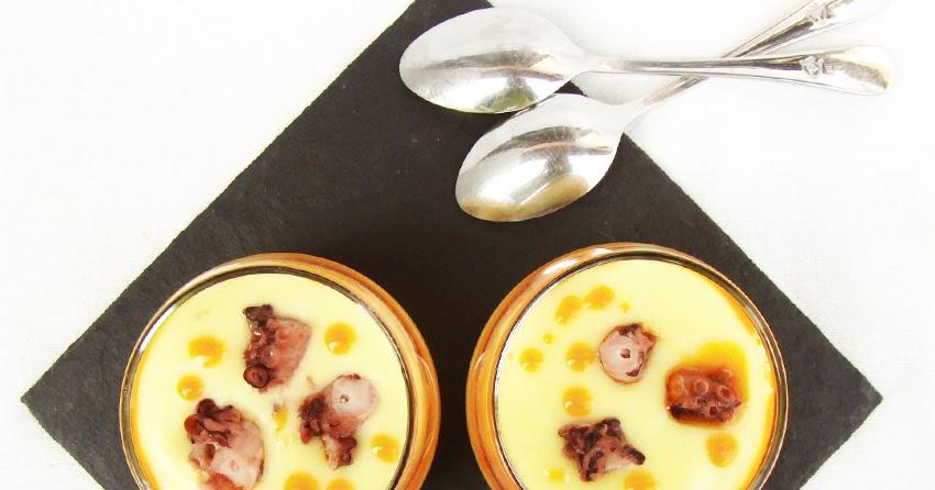 La cocina de rebeca crema de patata al piment n con pulpo for Aperitivos para barbacoa