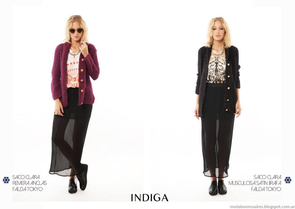 Sacos Moda Tejida otoño invierno 2014 colección Indiga otoño invierno 2014.
