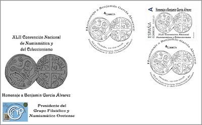 Sobre con sello personalizado homenaje Benjamín García en la XLII Convención Nacional de Numismática y Coleccionismo Oviedo 2016