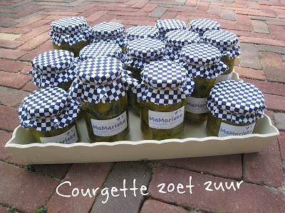 15 potten geweckte courgette zoet zuur