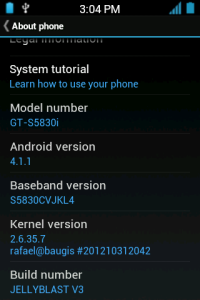 Galaxy Ace 5830i with Jelly Blast 4.1.1 ROM