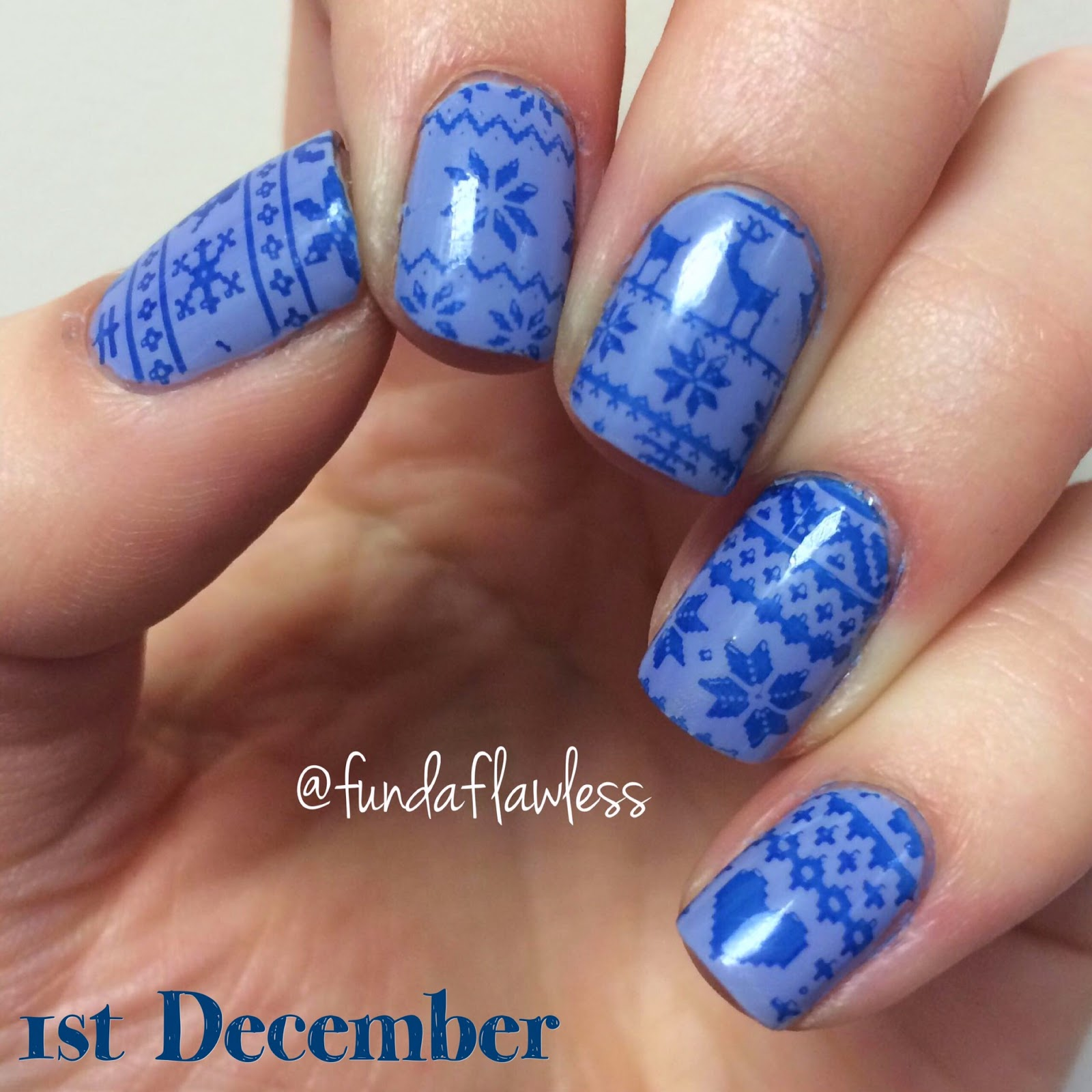 Blue Christmas jumper moyou festive collection nail art