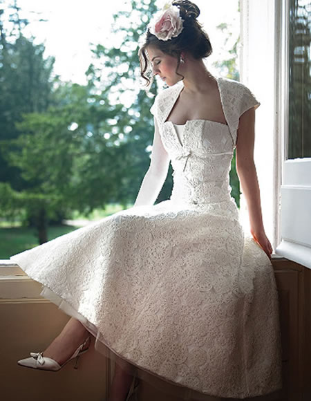 I Heart Wedding Dress Vintage Tea Length Wedding Dress