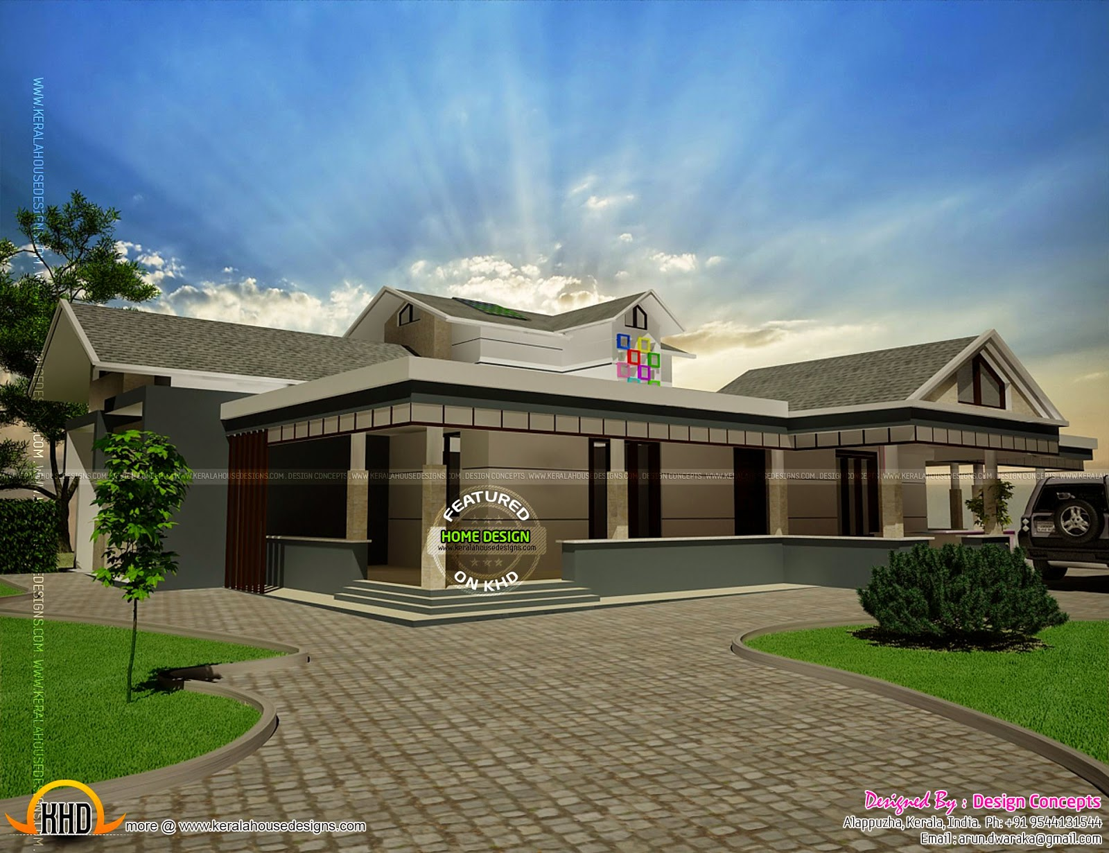 Single floor house with stair room on first floor kerala for Single floor house