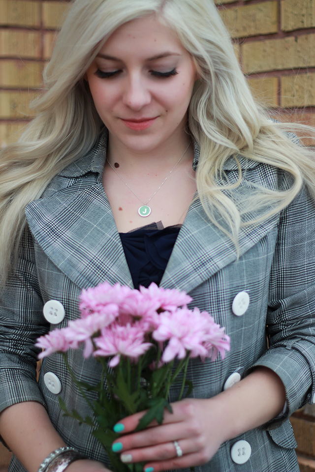 How to wear a monogram necklace. Fashion inspiration from a Winnipeg style blog.