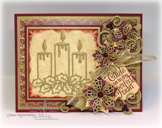 ODBD stamps: Perfect Light, dies: Christmas Candles, Merry Mosaics, Peaceful Poinsettias, Mini Tags, Fancy Foliage; Designed by Grace Nywening